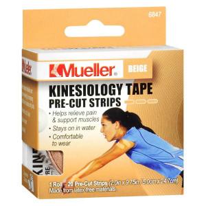 Mueller Kinesiology Tape Pre-Cut Strips Beige
