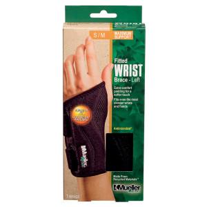 Mueller Green Fitted Wrist Brace, Maximum Support, Left S/M
