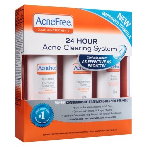AcneFree 3 Step 24 Hour Acne Treatment Kit with Benzoyl Peroxide