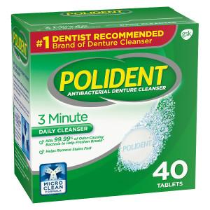 Polident 3 Minute, Antibacterial Denture Cleanser Triple Mint