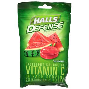 Halls Defense Vitamin C Supplement Drops Watermelon