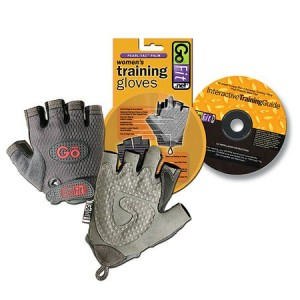 GoFit Pearl-Tac Womens Weightlifting Gloves Gray Large