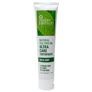 Desert Essence Natural Tea Tree Oil  Ultra Care Toothpaste, Fluoride Free Mega Mint