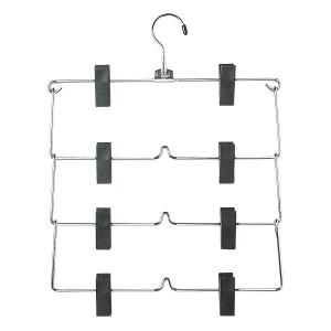 Honey Can Do 4 Tier Fold Up Skirt Hanger Chrome Black