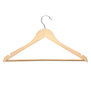 Honey Can Do Basic Suit Hanger With Non Slip Bar Maple Finish