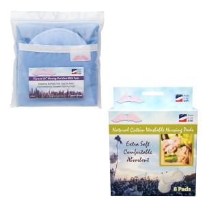 NuAngel Flip & Go Nursing Pad Case with All-Natural Washable Nursing Pad Set Blue