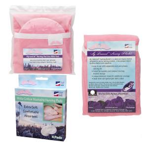 NuAngel Flip & Go Nursing Pad Case with Nursing Blanket & Cotton Nursing Pad Set Pink