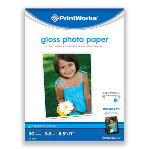 Printworks Gloss Photo Paper for Inkjet Printers, 8.5 mil, 30 Sheets, 8.5 x 11 (00470)