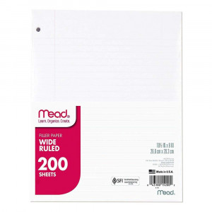 "Mead Loose Leaf Paper, Filler Paper, Wide Ruled, 200 Sheets, 10-1/2"" x 8"", 3 Hole Punched, 1 Pack (15200)"