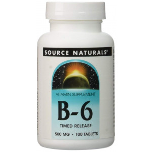 Source Naturals Vitamin B-6 500mg Timed Released Pyridoxine, with Added Calcium Supplement - Supports Immune System and Metabolism of Carbohydrates, Fats and Proteins - 100 Tablets