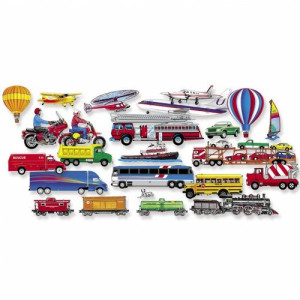 Little Folk Visuals Train, Trucks and Planes Precut Flannel/Felt Board Figures, 24 Pieces Add-On Set