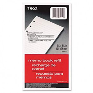 """Mead Memo Book Refill, 6 Ring, 3 3/4"""" x 6 3/4"""", Pack of 80 Sheets"""
