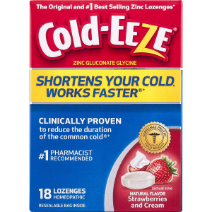 Cold-Eeze Cold Remedy Lozenges, Strawberries and Cream, 18 Count