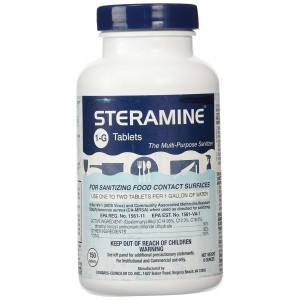 1 X Steramine Quaternary Sanitizing Tablets - 150 Sanitizer Tablets per bottle