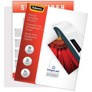 Fellowes Thermal Laminating Pouches, ImageLast, Jam Free, Letter Size, 5 Mil, 50 Pack (5204002)