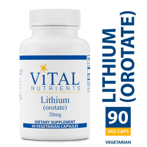 Vital Nutrients - Lithium (Orotate) 20 mg - Supports Mental and Behavioral Health - Gluten Free - 90 Capsules
