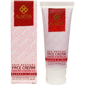 Alaffia - Skin Renewal Face Cream, For Extra Dry or Mature Skin, Moisturizing Support for Youthful, Toned Skin with Shea Butter, Baobab, and Cocoa, Fair Trade, No Parabens, Vegan, Non-GMO, 2.3 Ounces