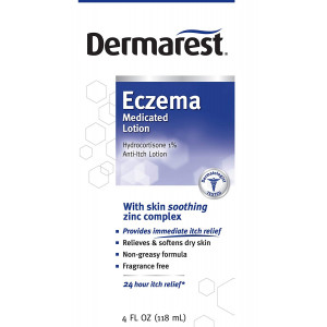 Dermarest Eczema Medicated Anti-Itch Lotion | 24 Hour Itch Relief | Fragrance Free | 4 oz