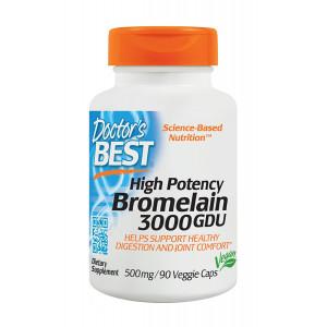 Doctor's Best 3000 GDU Bromelain, Non-GMO, Gluten Free, Joint Support, 90 Veggie Caps