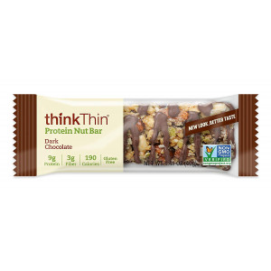 thinkThin Protein Nut Bar, Dark Chocolate, 1.41 oz Bar (10 Count)