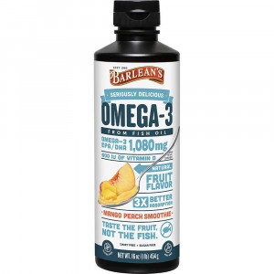 Barlean's Seriously Delicious Omega-3 Fish Oil, Mango Peach Smoothie, 16oz