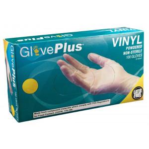 AMMEX - IV44100-BX - Vinyl Gloves - GlovePlus - Disposable, Powdered, Non-Sterile, 4 mil, Medium, Clear (Box of 100)