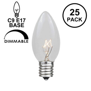 Novelty Lights 25 Pack C9 Outdoor Christmas Replacement Bulbs, Clear, E17/C9 Base, 7 Watt