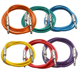 """Seismic Audio SATRX-6BGORYP 6 Pack of Multi Color 6' 1/4""""TRS to 1/4"""" TRS Patch Cables"""