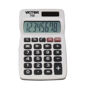 Victor 700 8 Digit Pocket Calculator, White, Great for carrying in backpacks, purses and breifcases