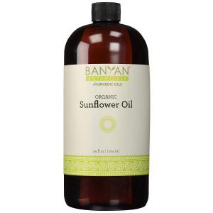 Banyan Botanicals Sunflower Oil - USDA Organic, 34 oz- Traditional Ayurvedic Oil for Massage, 100% Pure - Lightweight Carrier Oil