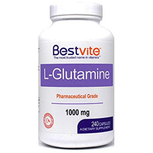 L-Glutamine 1000mg Free Form (240 Capsules) - No Stearates - No Fillers