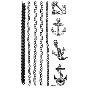 Sailor Jerry Anchors Tattoo Stickers Temporary Tattoos Fake Tattoos Paste Neck Shoulder Chest Hand Fashion Models Single Noble Alternative Avant-garde Barcode 2pcs/lot