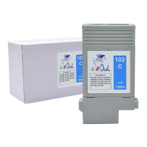 InkOwl Compatible Ink Cartridge Replacement for CANON PFI-102C (130ml, Cyan) - iPF500 iPF510 iPF600 iPF605 iPF610 iPF650 iPF655 iPF700 iPF710 iPF720 iPF750 iPF755 iPF760 iPF765