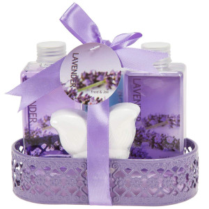 Bath and Body Bathroom Gift Set Basket for Women by Freida and Joe in Aromatherapy Essential Lavender Fragrance, Includes a Body Lotion, Bubble Bath, Shower Gel, and a Bath Bomb