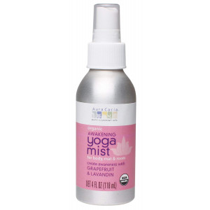 Aura Cacia Organic Body, Mat and Room Yoga Mist, Awakening Grapefruit and Lavandin, 4 Fluid Ounce