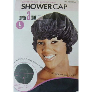 Shower Cap LARGE LG in Black, Could Also Be Used in Deep Hair Conditioning, Hair Protection, Full Size for Most Women, Men and Teens, Water-Proof Shower Cap with Comfortable Elastic Band