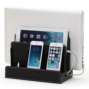 G.U.S. Multi-Device Charging Station Dock and Organizer - Multiple Finishes Available. For Laptops, Tablets, and Phones - Strong Build, Black Leatherette