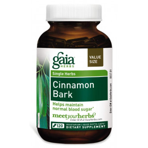 Gaia Herbs Cinnamon Bark, Vegan Liquid Capsules, 120 Count - Glycemic Balance and Normal Blood Sugar Support, Organic Cinnamon
