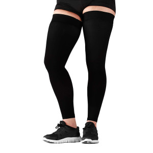 Mojo Compression Stockings Medical Grade  Thigh High with Grip Top  Compression Thigh Leg Sleeve - 20-30mmhg Graduated Support - Thigh Hi Recovery Garment Treats Hamstring and Quad Injuries, Large
