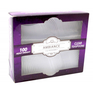 Crystalware Heavy Weight Plastic Tea Spoons 100/box, Clear