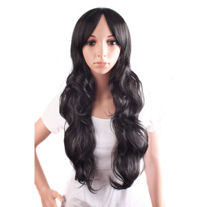 """MapofBeauty 24""""/60 cm Charming Side Bangs Women's Large Wavy Long Curly Daily Use Wig (Black)"""