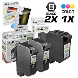LD Remanufactured Ink Cartridge Replacements for HP 45 and HP 78 (2 Black, 1 Color, 3-Pack)