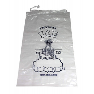 Plastic Ice Bags With Draw String Closure - Pack of 100