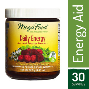MegaFood - Daily Energy Booster Powder, Promotes Sustained Energy Throughout the Day, 30 Servings (1.86 oz)