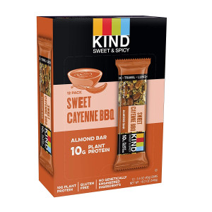 KIND Sweet and Spicy Bars, Sweet Cayenne BBQ, Gluten Free, 10g Plant Protein, 1.6oz, 12 Count