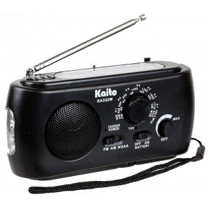 Kaito KA332W Portable Hand Crank Solar AM/FM NOAA Weather Radio with Cell Phone Charger and 3-LED Flashlight (Black)
