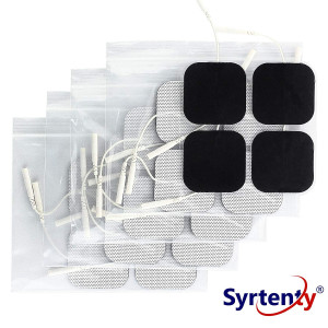 "Syrtenty TENS Unit Electrodes Pads 2x2 Replacement Pads Electrode Patches For Electrotherapy (2"" Square - 20 pack)"