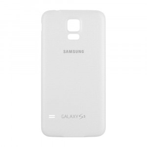 OEM Samsung Galaxy S5 SM-G900 Battery Door Back Cover Replacement - Shimmery White (Samsung Logo)