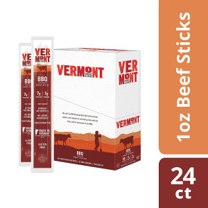 Vermont Smoke and Cure Meat Sticks, Beef, Antibiotic Free, Gluten Free, BBQ, Great Keto Snack, High in Protein, Low Sugar, 1oz Stick, 24 Count