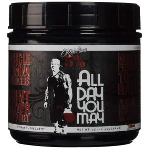 Rich Piana 5% Nutrition All Day You May BCAA and Joint Recovery Drink (Fruit Punch) 17.2oz (465 Grams) 30 Servings